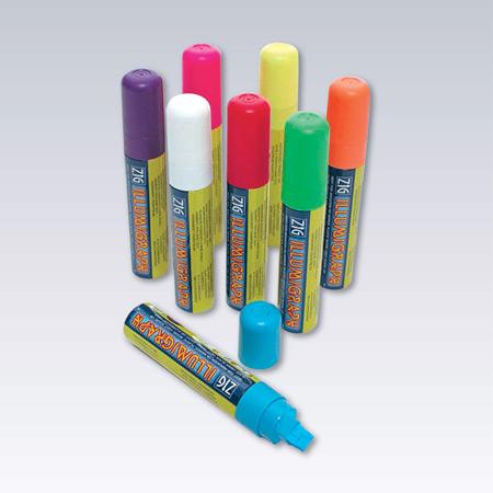 Rosa, gul, vit, röd, grön, blå, violett, orange.